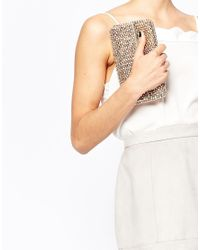 Dune - Pink Eternity Beaded Clutch Bag In Rose Gold - Lyst