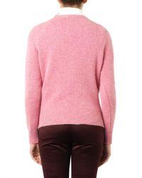 Maison Kitsuné - Pink Foxintarsia Wool Sweater - Lyst
