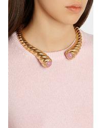Oscar de la Renta - Metallic Gold-Plated And Resin Necklace - Lyst
