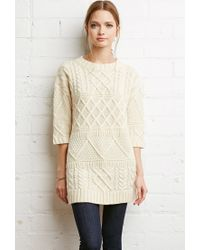 Forever 21 | Natural Contrast Cable Knit Sweater | Lyst