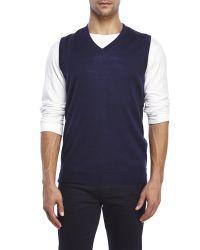 Belford | Blue Merino Wool Sweater Vest for Men | Lyst