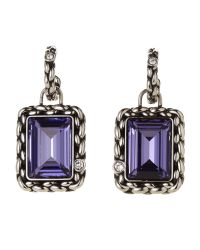 Swarovski | Gunmetal & Purple Crystal Earrings | Lyst