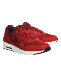 Nike | Red Air Max 1 Leather Low-Top Sneakers for Men | Lyst