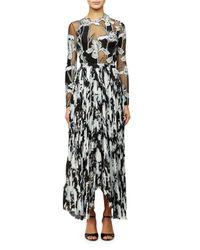 Thakoon | Multicolor Floral-illusion Georgette Bodysuit | Lyst