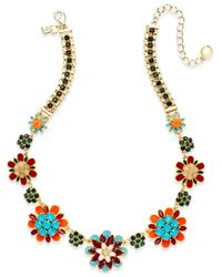 kate spade new york | Metallic Gold-tone Multicolored Flower Graduated Necklace | Lyst