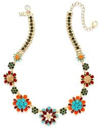 kate spade new york - Metallic Gold-tone Multicolored Flower Graduated Necklace - Lyst