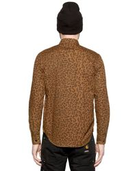 Carhartt - Brown Leopard Printed Cotton Poplin Shirt for Men - Lyst