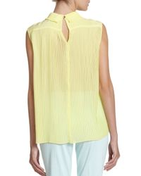Ted Baker | Yellow Peter Pan Collar Pleated Back Blouse | Lyst