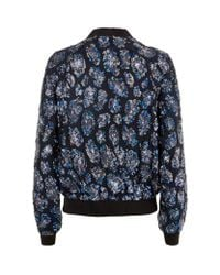 Juicy Couture Blue Leopard Sequin Bomber Jacket