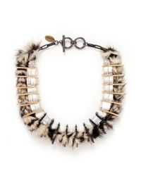 Venna | Multicolor Faux Fur Chain Link Choker Necklace | Lyst