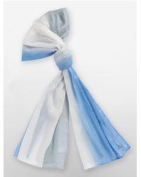 Calvin Klein | Blue White Label Lurex Dip Dye Scarf | Lyst