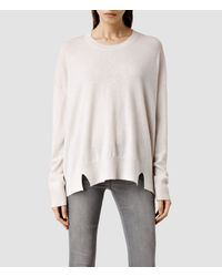AllSaints - White Atlas Crew Sweater - Lyst