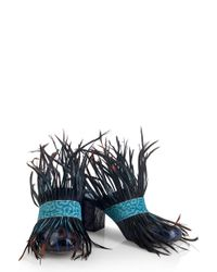 House of Holland - Ss16 'fear And Loafing' Blue Mules - Lyst