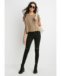 Forever 21 | Natural Cuffed Cap-sleeve Boxy Top | Lyst