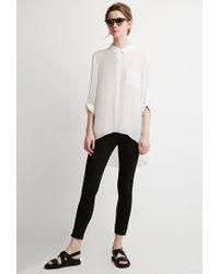 Forever 21 | White Contemporary Sheer Crepe Pocket Shirt | Lyst