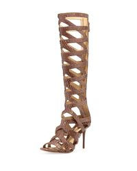 B Brian Atwood | Brown Ethanna Snakeskin Cage Boot | Lyst