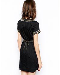 French Connection - Black Pappa Jamie Tie Waist Dress - Lyst