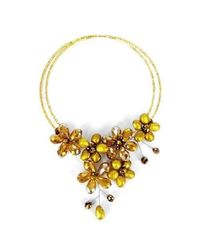Aeravida - Yellow Golden Lush Freshwater Dyed Gold Pearl Floral Wrap Necklace - Lyst