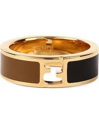 Fendi - Metallic Enamel Logo Ring - Lyst