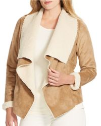 Lauren by Ralph Lauren | Brown Plus Faux Suede And Sherpa-trimmed Jacket | Lyst