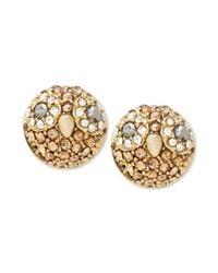 Fossil - Metallic Goldtone Crystal Owl Stud Earrings - Lyst