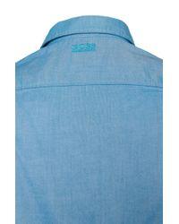 BOSS Green - Blue 'byolo' | Regular Fit, Cotton Oxford Button Down Shirt for Men - Lyst