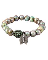 Loree Rodkin | Metallic Pearl Diamond Winged Insect Charm Bracelet | Lyst