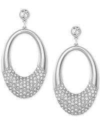 Swarovski | Metallic Silver-tone Crystal Pavé Oval Drop Earrings | Lyst