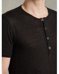 John Varvatos - Black Short Sleeve Front Placket Henley for Men - Lyst