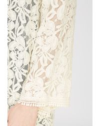 Forever 21 - Natural Floral-embroidered Longline Cardigan - Lyst