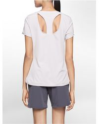 Calvin Klein - Gray White Label Performance Racerback Short Sleeve Top - Lyst