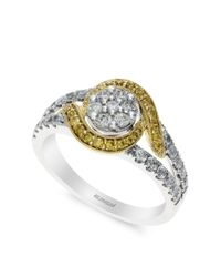 Effy | Metallic Yellow And White Diamond 14k White And Yellow Gold Ring, 0.74 Tcw | Lyst