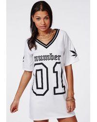 Missguided - Number 1 Ganja Sports Rib T-shirt Dress White - Lyst