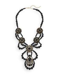 Saks Fifth Avenue - Black Beaded Medallion-drop Statement Necklace - Lyst