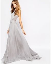 Fame & Partners - Gray Drama Queen Maxi Dress With Open Back - Lyst