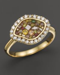 Plevé | Metallic Plevé 18k Yellow Gold Cinnamon Mosaic Organic Ring With Diamonds | Lyst
