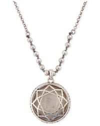 Lucky Brand | Metallic Silver-Tone Clear Stone Pendant Necklace | Lyst