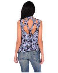 Lucca Couture | Blue Printed Criss Cross Back Tank | Lyst