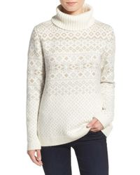 Vineyard Vines - White Snowflake Fair Isle Turtleneck Sweater - Lyst