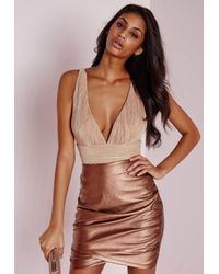 Missguided - Natural Crinkle Plunge Bodysuit Nude - Lyst