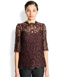 Dolce & Gabbana Brown Scalloped Lace Top