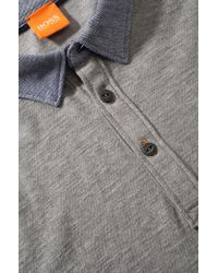 BOSS Orange | Gray Knitwear Polo Shirt 'peeters' In Cotton for Men | Lyst
