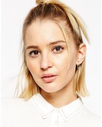 ASOS - Metallic Gold Plated Sterling Silver Triangle Chain Swing Earrings - Lyst