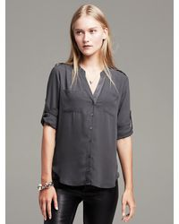 ea3ad3a9209c0 Lyst - Banana Republic Drapey Utility Shirt in Gray