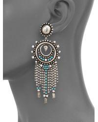 DANNIJO - Metallic Vitula Fringed Crystal Drop Earrings - Lyst