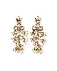 Oscar de la Renta - Metallic Floral Baguette Crystal Clip Earrings - Lyst