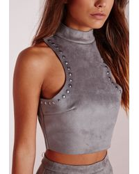 Missguided - Gray Stud Faux Suede Crop Top Grey - Lyst