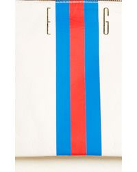 Clare V. - White M'onogrammable Cream Agnes Backpack With Blue And Red Stripes - Lyst