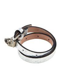 Alexander McQueen | Metallic Skull Charm Double Wrap Bracelet | Lyst