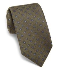 Isaia | Green Framed Diamond Silk & Wool Tie for Men | Lyst